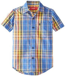 Izod LITTLE BOYS' SHORT SLEEVE WOVEN PLAID SHIRT -MULTI - 3Yrs