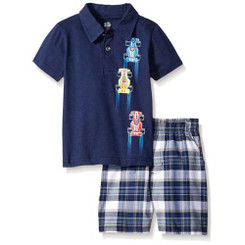 Kids Headquarters Baby Boys Solid Polo Top with Woven Plaid Shorts - 9/12M