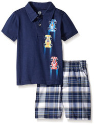 Kids Headquarters Boys  Solid Polo Top with Woven Plaid Shorts