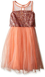 Emerald Sundae Girls' Illusion Top with Peach Sequin Top Dress - 3Yrs