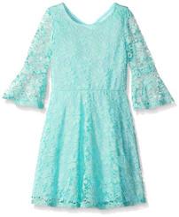 As U Wish Big Girls' Allover Lace Bell Sleeve Dress - 9/10Yrs