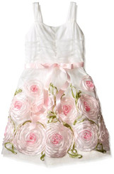 Emerald Sundae Girls' Soutache Flower Border Party Dress - 10/12Yrs
