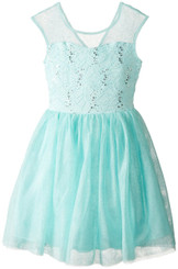 Speechless Girls Illusion Yoke Ballerina Dress, Ice Blue - Girls 7-16