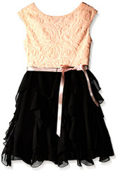 Speechless Girls Soutache Bodice Dress, Blush Black - 10/12yrs