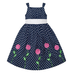 American Princess GIRLS POLKA DOT EMMA ROSE DRESS ( BLUE ) - 3 Yrs