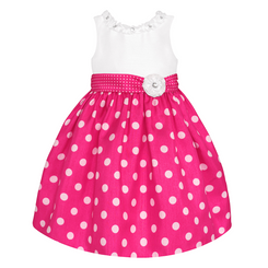 American Princess  GIRLS' POLKA DOT SHANTUNG DRESS - 3Years
