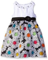 American Princess  Girls' Solid Bodice Shantung Dress (blk/Multi)- 2Yrs