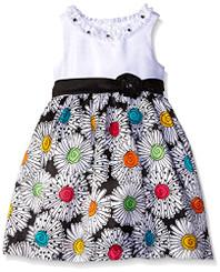 American Princess  GIRLS  SOLID BODICE SHANTUNG DRESS (BLK/MULTI) - Girls 4-6