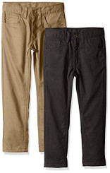 American Hawk Boys 2 Pack Twill Pants, Black Khaki - 3Years