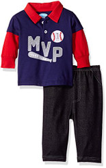 Bon Bebe Baby Boys Longsleeve Collared Shirt with Denim Pant, Mvp - 6-9mths