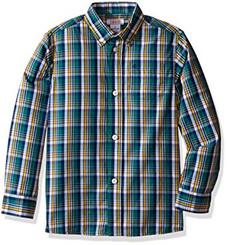 Izod Boys Kids Boys' Saturated Plaid Shirt - Dark Green. - Boys 4-6