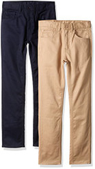 American Hawk Big Boys  2 Pack Five Pocket Twill Pants, Navy Khaki - Boys 7-20