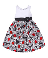 American Princess  Girls Solid Bodice Shantung  Dress Black Red - 4Yrs