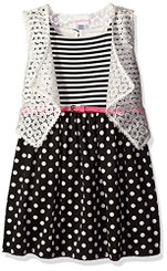 Youngland Girls  Ponte Dress with  Removable Crochet Vest - Girls 4-6