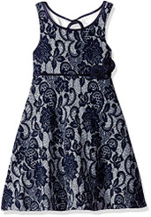 Bonnie  Jean Textured Knit Lace Print Aline Dress - 2-3Yrs