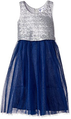 Emerald Sundae Girls  Sequin Popover Top with Tulle Skirt Dress - Silver-Navy 5-6Yrs