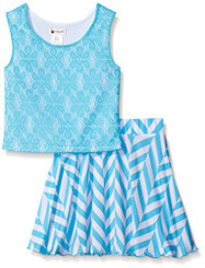 Emily West Knit Chevron to Floral Print Flip and Twirl Skirt Set -5-6Yrs