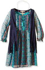 Speechless Piece Chiffon Vest Dress Set - Navy Multi - 7/8Yrs