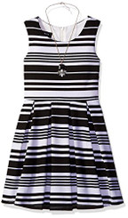 Amy Byer Girls Stripe Knit Dress with Pleated Skirt. - Girls 7-16