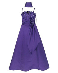 Victoria Kids Girls Pleated Bodice Satin Special  Occasion Dress - Girls 7-16