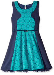 Beautees Girls Color Block Skater Dress, Aquatic Green - 5/6Yrs