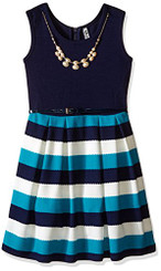 Beautees Girls Skater Dress Solid Top, Stripe Bottom  Jade - Girls 4-6