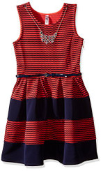 Beautees Girls Mini Stripe  Skater Dress. - 7/8Yrs