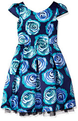 Bloome Big Girls  Floral Satin Special Occasion Dress. 7/8Yrs