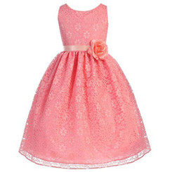 Calla Big Girls  Lovely Floral Lace Dress.- Coral - 10/11Yrs