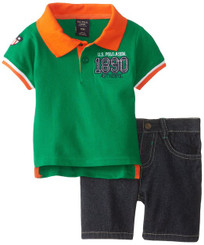 U.S. Polo Assn. Baby Boys Pique Polo and Denim Short Set - Kelly Green