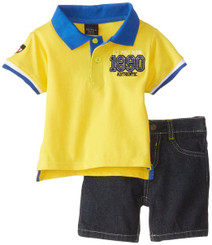 U.S. Polo Assn. Baby Boys Pique Polo and Denim Short Set - Yellow 12/18Mths