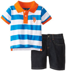 U.S. Polo Assn. Baby Boys Wide Stripe Pique Polo and Denim Short Set - Orange.