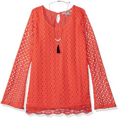 Self Esteem Girls Long  Bell Sleeve Top with Necklace - Coral