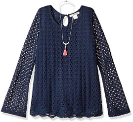 Self Esteem Girls Long Bell Sleeve Top with Necklace - Navy