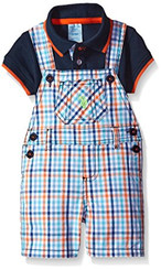 U.S. Polo Assn. Baby Boys  2 Piece Polo Shirt and Shortall Set - Navy 6/9M