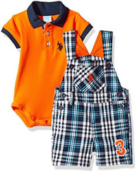 U.S. Polo Assn. Baby Boys 2 Piece Polo Shirt and Shortall Set - Orange 6/9M