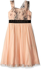 Amy Byer Big Girls' One Shoulder Tee Length Dress - Peach