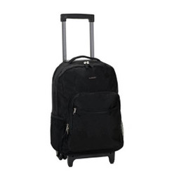 Rockland Unisex 17 Inch Rolling Backpack - Black