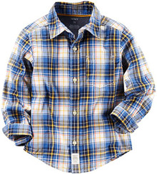 carter's Little Boys' Woven Buttonfront , Plaid - 3yrs