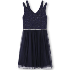 Speechless Girls' Glitter Lace To Tulle Dress(Navy) - 10/12yrs