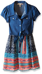 Speechless Little Girls' Denim To Chiffion Tie Front Dress - 3/4Yrs