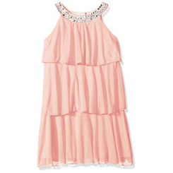 My Michelle Girls Tiered Dress with Jeweled Neckline (Blush) - 5/6yrs