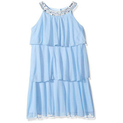 My Michelle Girls Tiered Dress with Jeweled Neckline(Blue) - 7/8Yrs
