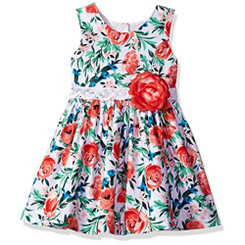 Jayne Copeland Girls Floral Print Crochet Dress - 5/6Yrs