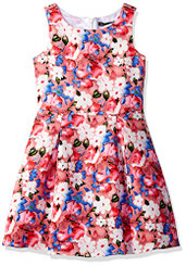 Dorissa Girls Wendy Jacquard Floral Pleated Dress - 2Yrs