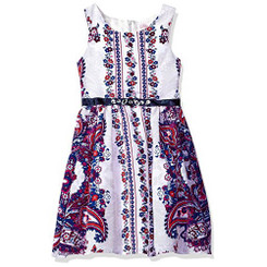 Bloome Girls Paisley Floral Printed Sleeveless Dress - 7/8Yrs
