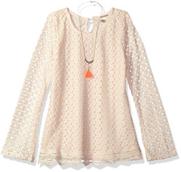 Self Esteem Girls Long Bell Sleeve Top with Necklace - 8Yrs