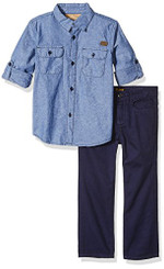 Lee Boys' 2pc Chambray Pant Set, Navy - Boys 4-6Yrs