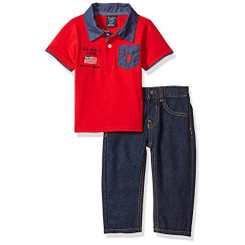 U.S. Polo Assn. Baby Boys' Polo Shirt and Pant Set, Red Flag - Toddler