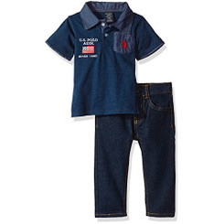 U.S. Polo Assn. Baby Boys  Polo Shirt and Pant Set, Indigo Blue - 12-18M